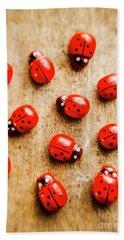 Wooden Ladybugs Bath Towel