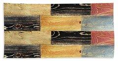 Woodgrain Art Abstract Golds Black Blues Bath Towel by Scott D Van Osdol