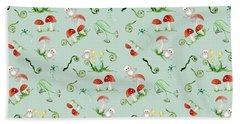 Woodland Fairy Tale - Red Mushrooms N Owls Hand Towel