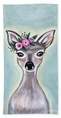 Woodland Floral Deer Bath Towel