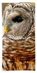 Hand Towel featuring the photograph Woodland Owl by Adam Olsen