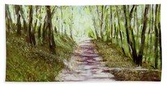 Woodland Path - Impressionism Landscape Hand Towel by Barry Jones