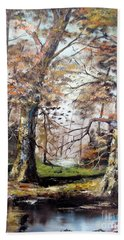 Hand Towel featuring the painting Woodland Pond  by Lee Piper