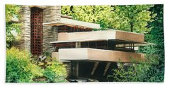 Hand Towel featuring the painting Fallingwater-a Woodland Retreat By Frank Lloyd Wright by Barbara Jewell