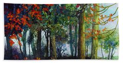 Hand Towel featuring the painting Woodland Trail by Hailey E Herrera