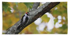 Woodpecker And Autumn Bath Towel