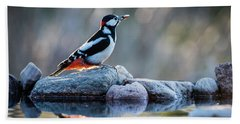 Woodpecker In Backlight Hand Towel by Torbjorn Swenelius