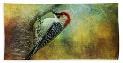 Woodpecker On Cherry Tree Bath Towel