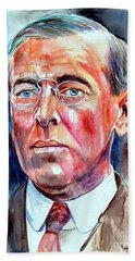 Woodrow Wilson Painting Bath Towel