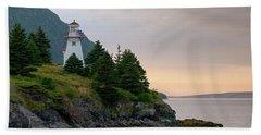 Woody Point Lighthouse - Bonne Bay Newfoundland At Sunset Hand Towel