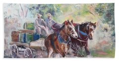 Hand Towel featuring the painting Working Clydesdale Pair, Victoria Breweries. by Ryn Shell