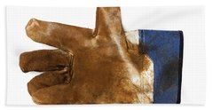 Workman's Leather Glove Isolated On White Hand Towel