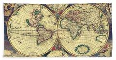 World Map 1689 Bath Towel