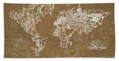 World Map Blueprint 4 Hand Towel by Bekim Art
