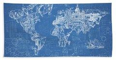 World Map Blueprint Bath Towel by Bekim Art