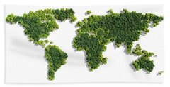 World Map Made Of Green Trees Bath Towel