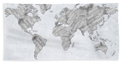 World Map Music 10 Hand Towel