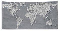 World Map Music 11 Hand Towel by Bekim Art