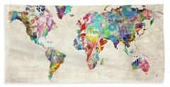 World Map Music 12 Hand Towel by Bekim Art