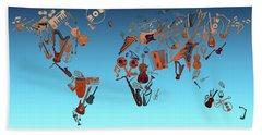 Hand Towel featuring the digital art World Map Music 6 by Bekim Art