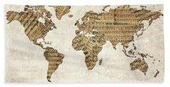 Hand Towel featuring the digital art World Map Music 9 by Bekim Art