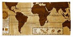 World Map Of Coffee Hand Towel