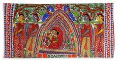 World Oldest Folk Art D Madhubani Painting Of Vidai  The Hindu Wedding Rituals  Hand Towel