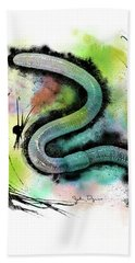 Worm Illustration Bath Towel