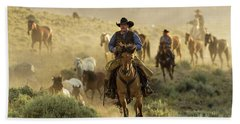 Wrangling The Horses At Sunrise  Hand Towel