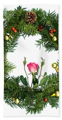Hand Towel featuring the digital art Wreath With Rose by Lise Winne
