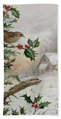 Wren In Hollybush By A Cottage Hand Towel
