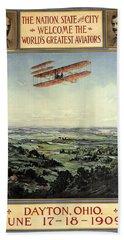 Wright Brothers - World's Greatest Aviators - Dayton, Ohio - Retro Travel Poster - Vintage Poster Hand Towel