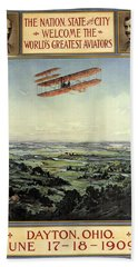 Wright Brothers - World's Greatest Aviators - Dayton, Ohio - Retro Travel Poster - Vintage Poster Bath Towel