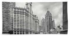 Bath Towel featuring the photograph Wrigley Building Chicago by Adam Romanowicz