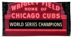 Wrigley Field Marquee Cubs World Series Champs 2016 Front Hand Towel by Steve Gadomski