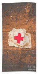 Ww2 Nurse Cap Lying On Wooden Floor Bath Towel