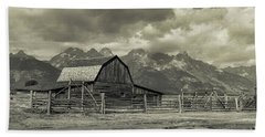 Hand Towel featuring the photograph Wyoming Mormon Row Moulton Barn Silver Panorama by James BO Insogna