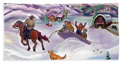 Wyoming Ranch Fun In The Snow Hand Towel