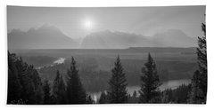 Wyoming Sunset At Snake River Bw Bath Towel