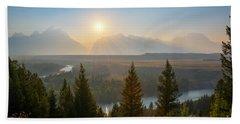 Wyoming Sunset At Snake River Bath Towel