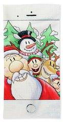 Santa's Xmas Selfie Bath Towel