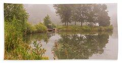 Misty Pond Bridge Reflection #5 Hand Towel