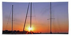 Bath Towel featuring the photograph Yacht Club Sunrise by Judy Vincent