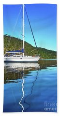 Hand Towel featuring the photograph Yacht Reflecting By Kaye Menner by Kaye Menner