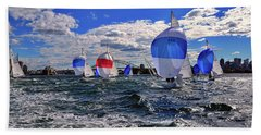 Yachts On The Harbor By Kaye Menner Bath Towel