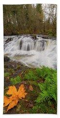 Yacolt Creek Falls In Fall Season Bath Towel