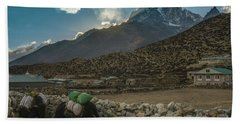 Bath Towel featuring the photograph Yaks Moving Through Dingboche by Mike Reid