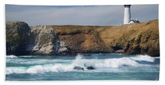 Yaquina Head Lighthouse On The Oregon Coast Bath Towel