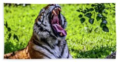 Hand Towel featuring the photograph Yawning Tiger by Joann Copeland-Paul