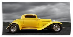 Yellow 32 Ford Deuce Coupe Bath Towel